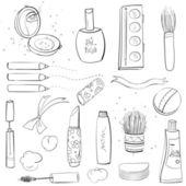 Makeup Set Sketch Drawing — Stock Vector
