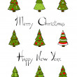 Christmas Trees New Year Lettering. — Stock Vector