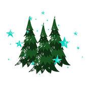 Three Christmas Trees — Stock Vector