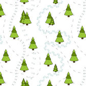 Christmas Trees and Tracks Seamless Pattern. — Stock Vector