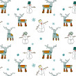 Seamless Winter Patterns with Deers and Snowman — Stock Vector #16498871