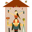 Stock Vector: Family and the House