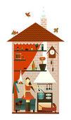 молодая женщина на кухне — Cтоковый вектор