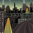 Night Cityscape Cartoon — Stock Vector