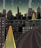 Night Cityscape Cartoon — Stock Vector