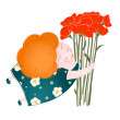 Middle Age Happy Woman with Flowers — Image vectorielle