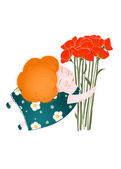 Middle Age Happy Woman with Flowers — Stock Vector