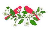 Beyaz çiçekler ve dal kompozisyon üzerinde pembe kuşlar — Stok Vektör