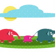 Royalty-Free Stock Vector: Funny Graphic Elephants Family