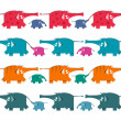 Funny Graphic Elephants Herd Collection — Stock Vector