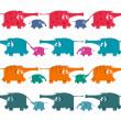Смешные графический слонов стадо коллекции — Cтоковый вектор