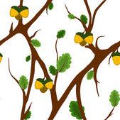 Acorn en eiken naadloze patroon — Stockvector