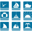 Nautical and Sea Icons Set — Stock Vector