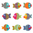 Fish Collection Colorful Graphic Cartoon — Stock Vector