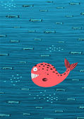 Pink Whale and Fish Underwater Cartoon Background — Stock Vector