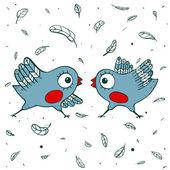 Birds Quarrel — Stock Vector