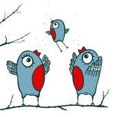Happy Birds Family Teaching to Fly — Stock Vector