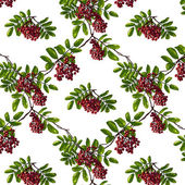 Ashberry Rhombic Branch Seamless Pattern with Berries and Leaves — Stock Vector