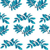 Rhombic Blue Leaves Seamless Pattern — Stock Vector