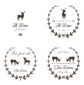 Vintage Labels Collection with Deers — Stock Vector