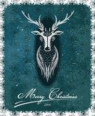 Merry Christmas Vintage Deer Greeting Card — Stock Vector
