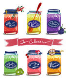 Bright Canned Sweet Fruit Jam Collection — Stock Vector
