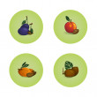 Plum Peach Apricot Kiwi Fruits Icons Set — Stock Vector