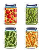 Bright Canned Pickled Vegetables Collection — Stock Vector