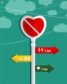 No Love Heart Shape Sign Graphic Design — Stock Vector