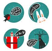 Santa Bullfinch Deer Bunny Christmas Greetings Set — Stock Vector