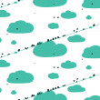 Birds Sitting on Wires in Clouds Seamless Pattern — Stock Vector