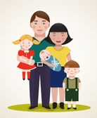 Happy Family Parents with Three Children — Stockvector