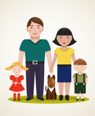 Happy Family Parents with Two Children and Dog — Stock Vector