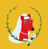 Dog Bride Funny Portrait Illustration — Stock Vector