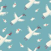 Flying Storks and Children Seamless Pattern — Stock Vector