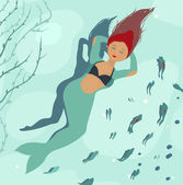Mermaid Dreaming of Legs — Stock Vector