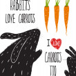 Постер, плакат: Scratchy Rabbits Love Carrots Lettering