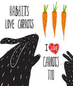 Scratchy Rabbits Love Carrots Lettering — Stock Vector