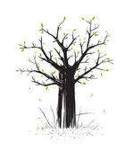 Scratchy Scribble Tree in Black Silhouette — Stock Vector
