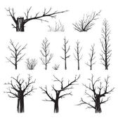 Scratchy Trees Collection in Black Silhouettes — Stock Vector