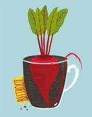 マグカップで緑の緑豊かなトップとビートの根の成長 — ストックベクタ