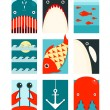 Flat Sea and Fish Rectangular Nautical Set — Stock Vector #49258727