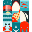 Flat Sea and Fish Rectangular Nautical Set — Stock Vector #49258733