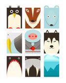 Flat Arctic and North Pole Symbols Set — Stock Vector