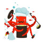 Kırmızı ahtapot şef yemek yemek — Stok Vektör