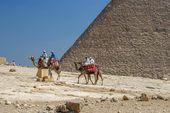 Camels around pyramids, Cairo Egypt — Stock Photo