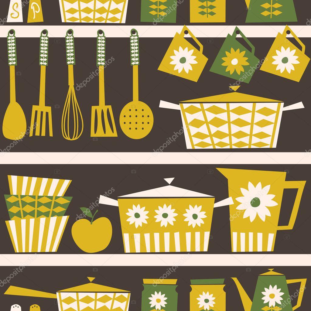 Retro Kitchen Illustration: Stock Vector © Ivaleks #10444441