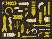 Colección de flechas grunge — Vector de stock