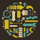 Grunge pijlen collectie — Stockvector