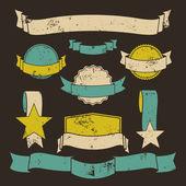 Grunge insignias y banderas colección — Vector de stock